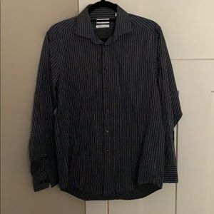 Calvin Klein dark gray striped dress shirt